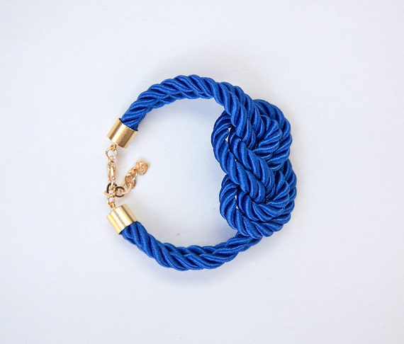 Royal blue Nautical Rope Bracelet by pardes israel