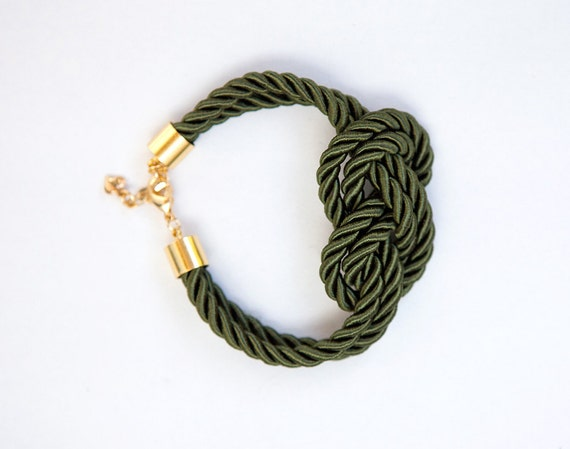 Olive Nautical Knot  Silk Rope  Bracelet by pardes israel