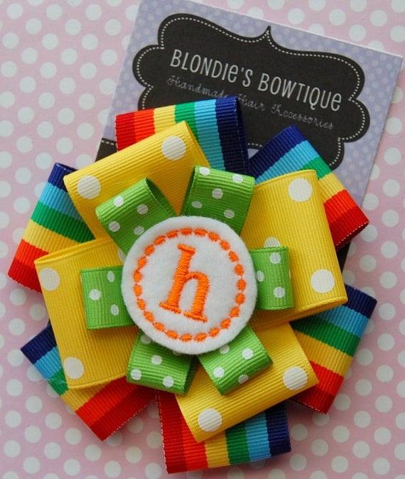 Monogram Hair Bow - Bright Colors Hair Bow - Monogram Bow - Rainbow Hair Bow - Birthday Hair Bow - Circus Hair Bow