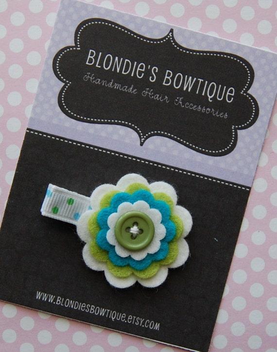 Baby Hair Clip - Felt Flower Hair Clip -  Small Flower Hair Clip - Infant Hair Clip - Flower Clippie - Toddler Hair Clip