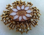 Vintage Pink Goldtone Pin with white Accents.