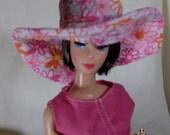 Deviant Barbie Fashion . Pretty as a Picture  Hot Pink . Floral . White. Cotton . hat and dress by Kathryns Gallery