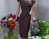 Kathryns Gallery Deviant Reproduction Barbie Fashion . Sheath Sensation Pak Sheath . Brown Polka Dotted white . Cotton . dress