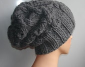 Handmade Knit Cable Hat Beanie Slouchy Hat #1 Beanie Large for Men / Women GRAY Baggy cabled Slouchy hat Warm hat Mens Hats #1
