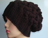 Handmade Knitt Cable Hat Beanien Slouchy Hat Beanie Large  for Men and Women red white green blue brown