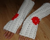Handknitted Spring Fingerless Mittens With Crochet Flowers  Long gloves without fingers, white, Red ,Turquoise