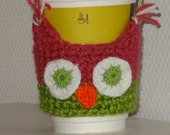 OWL  Coffee Cup Cozy in Pink Green Gift below 15 ready for shipping
