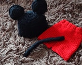 Mouse Hat and Diaper cover photo SHOOT  prop  Crochet Mouse Hat end Diaper Cover Pants and hat set Mickey Mouse with a tail