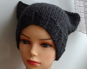 Cat Ears Hat Cat Beanie Chunky Knit Winter Accessories Animals Hat  cat ears hat dark graphite charcoal gray Mens hats women hat #16