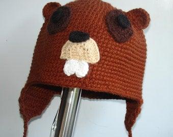 Beaver Hat - Animal Hat - Photo  PROP or GIFT - Baby animal hat- baby beaver hat -