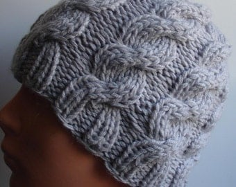 Classic cable knit hat  gray  Knit cable hat Beanie ha fashion accessories, warm hat braids, Knit  Mens hat , Women hat