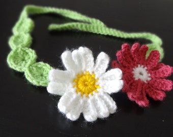 Crochet headband  flowers crochet headband  lime white pink   flower Hair Accessories girls and women