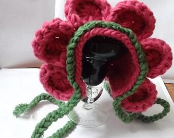 Baby Flower Bonnet Hat-Newborn Photo Prop- flower petal hat - Flower baby hat - Crochet baby hat - Crochet flower