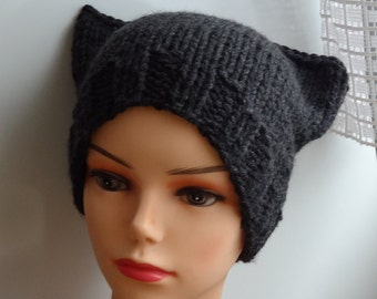 Cat Ears Hat Cat Beanie Chunky Knit Winter Accessories Animals Hat  cat ears hat dark graphite or ANY COLOR