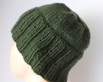 Winter Hat - Hand Knit Hat - Autumn Accessories - Men hat in Green  -  mens beanie Chunky Knit  - Mens knit hat  - men's fashion /  long rib