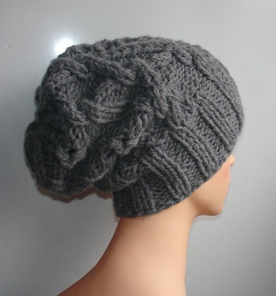 Handmade Knit Cable Hat Beanie Slouchy Hat #1 Beanie Large for Men GRAY Baggy cabled Slouchy hat Warm hat Mens Hats chunky slouchy hat