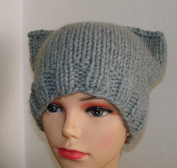 Knitting Patterns For Hats With Cat Ears : Cat Ears Hat Cat Beanie Chunky Knit Winter Accessories by Ifonka