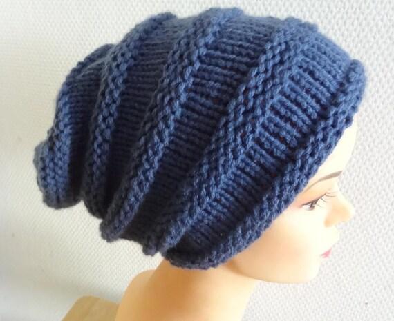 knit hat slouchy women  men jeans BLUE  Winter Hat - fall Winter Accessories - Slouchy Women  men  Hat in Blue - Oversized Hat - Chunky Knit