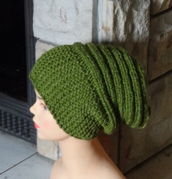knit hat slouchy beanie women men spirals Hand Knitt Hat Beanien Slouchy Hat  Large for Men and Women GREEN Oversized Hat - Chunky  knit hat