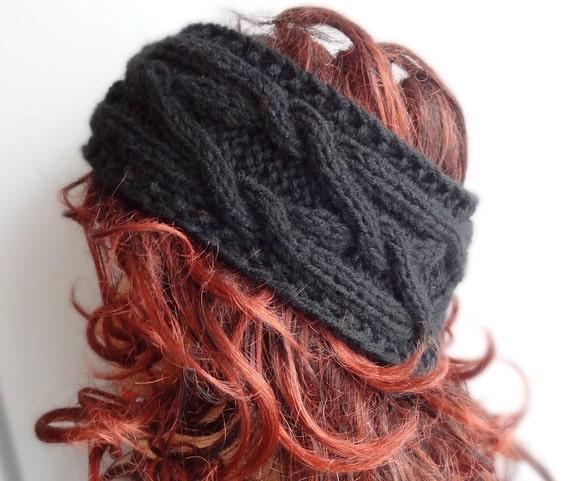 Handmade Knit Cable Headband Plait BLACK Knitted Headband Hand knit headband, head wrap, ear warmer  BLACK accessories handmade