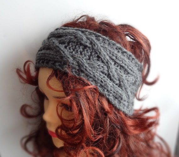 Hand Knitted Headbands Patterns : Handmade Knit Cable Headband Plait Dark Gray Knitted by Ifonka