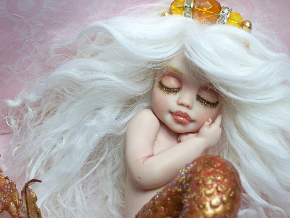 OOAK art doll fantasy mermaid baby polymer clay sculpture fairy  IADR  november birthstone  free shipping