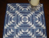 Colonial Maze Quilted Table Topper, Wall Hanging, Cubicle Art in Williamsburg Blues
