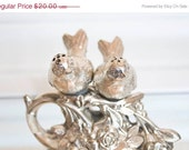 15% Off Sale Vintage Home Decor-Salt And Pepper Shakers-Shabby Chic Home  Vintage Silver Plated Two Birds Pirched On  Branch With Flowers A