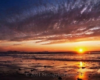 8x12 seascape photo - beach cottage decor - oceanscape - incredible sunset - sky blue orange calming photo - Imperial Beach, California