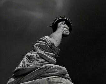Photography Landmark Statue of Liberty photo, 8x12 New York, gray, black, white, torch, arm StrongylosPhoto