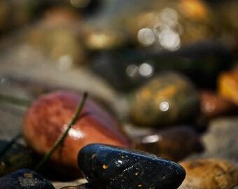 Beach Decor nautical decor beach rocks, 8x10 photo wet shiny stones black brown sand ocean photography bokeh StrongylosPhoto