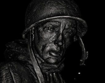 Korean war memorial washington dc photo 8x10 fine art print soldier portrait statue night photography