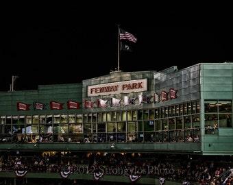 Fenway Park, Press Box at night, Boston Red Sox, 8x12 fine art night photography, sports, baseball, man cave