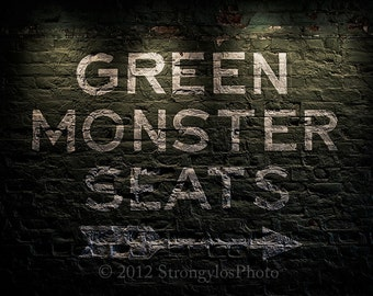 "Photo on canvas, gallery wrapped around 1.5"" frame or glossy metal,ready to hang,Green Monster Seats,Red Sox,Fenway,baseball -man cave"