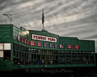 Press Box and clouds at Fenway Park, Home of the Boston Red Sox, baseball, sports photography