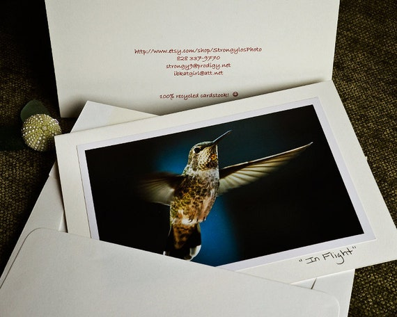 hummingbird eco friendly photo card, 5x7 greeting card with envelope, StrongylosPhoto