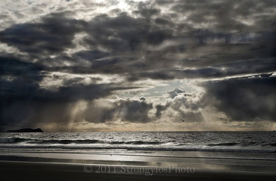 Beach Decor dark, stormy beach photography, 8x12 print, California sunset with storm clouds, nautical decor, Imperial Beach, CA ocean photo