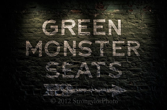 Green Monster Seats,Boston Red Sox,2013 World Series Champions,8x12,sports,baseball,man cave decor