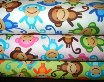 Monkeys Fat Quarter Trio From Robert Kaufman