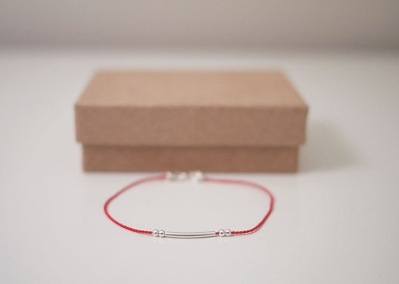 Tiny Sterling Silver Beads & Tube Silk Cord Bracelet
