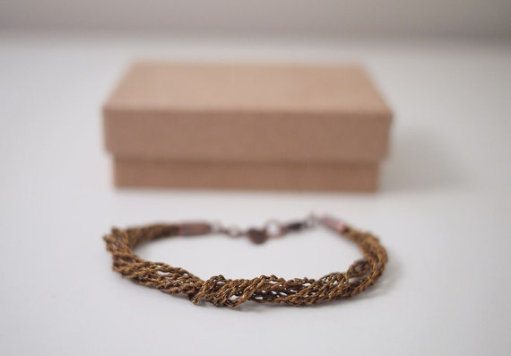 Antique Copper Metallic Thread Crochet Multi Strand Bracelet