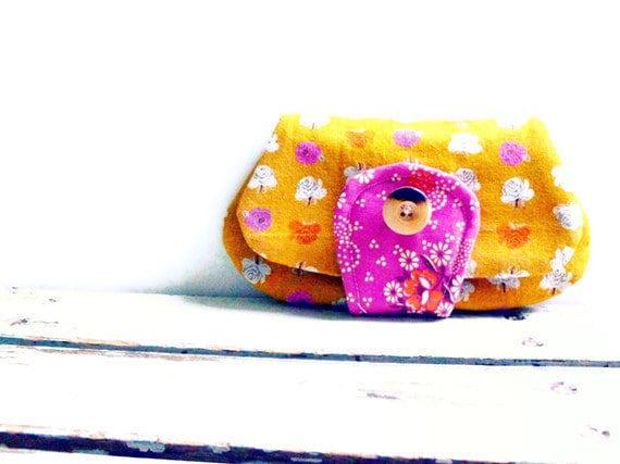 pocket clutch - small clutch bag - cotton