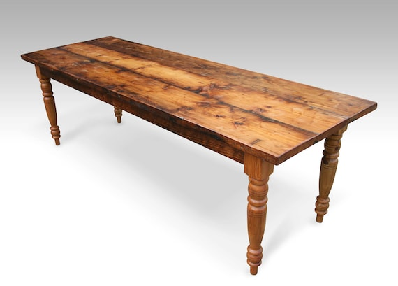 reclaimed wood farmhouse dining table turned legs recycled salvaged