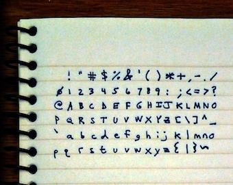 handwritten ascii chart
