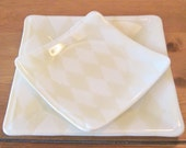One Place Setting - Cream & White Harlequin Fused Glass Plate