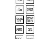 Set of 10 square kitchen labels