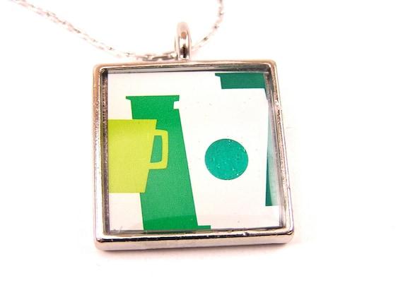 Upcycled Jewelry, Recycled Jewelry, Resin Jewelry, Custom Necklace (Green Starbucks Cups)