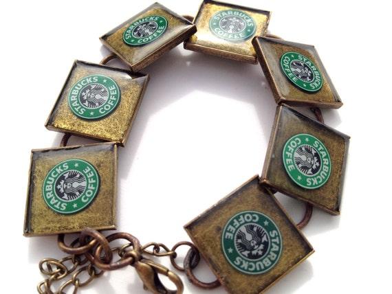 Resin Jewelry, Recycled jewelry, Starbucks Jewelry, Custom Bracelets (sirens)