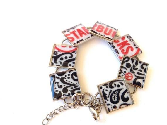 Resin Jewelry, Recycled jewelry, Starbucks Jewelry, Custom Bracelets, Silver Bracelets (Red Passion)