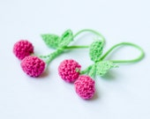 Cherry Ponytail Holders - Crochet Bright Pink